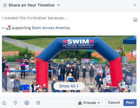 Swim Across America Facebook Fundraiser 3