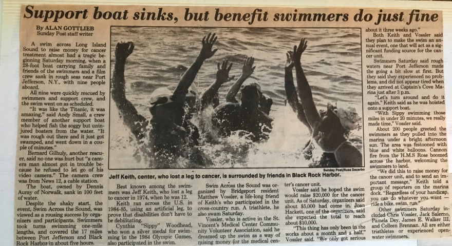 1987-Swim Across Sound newspaper clipping